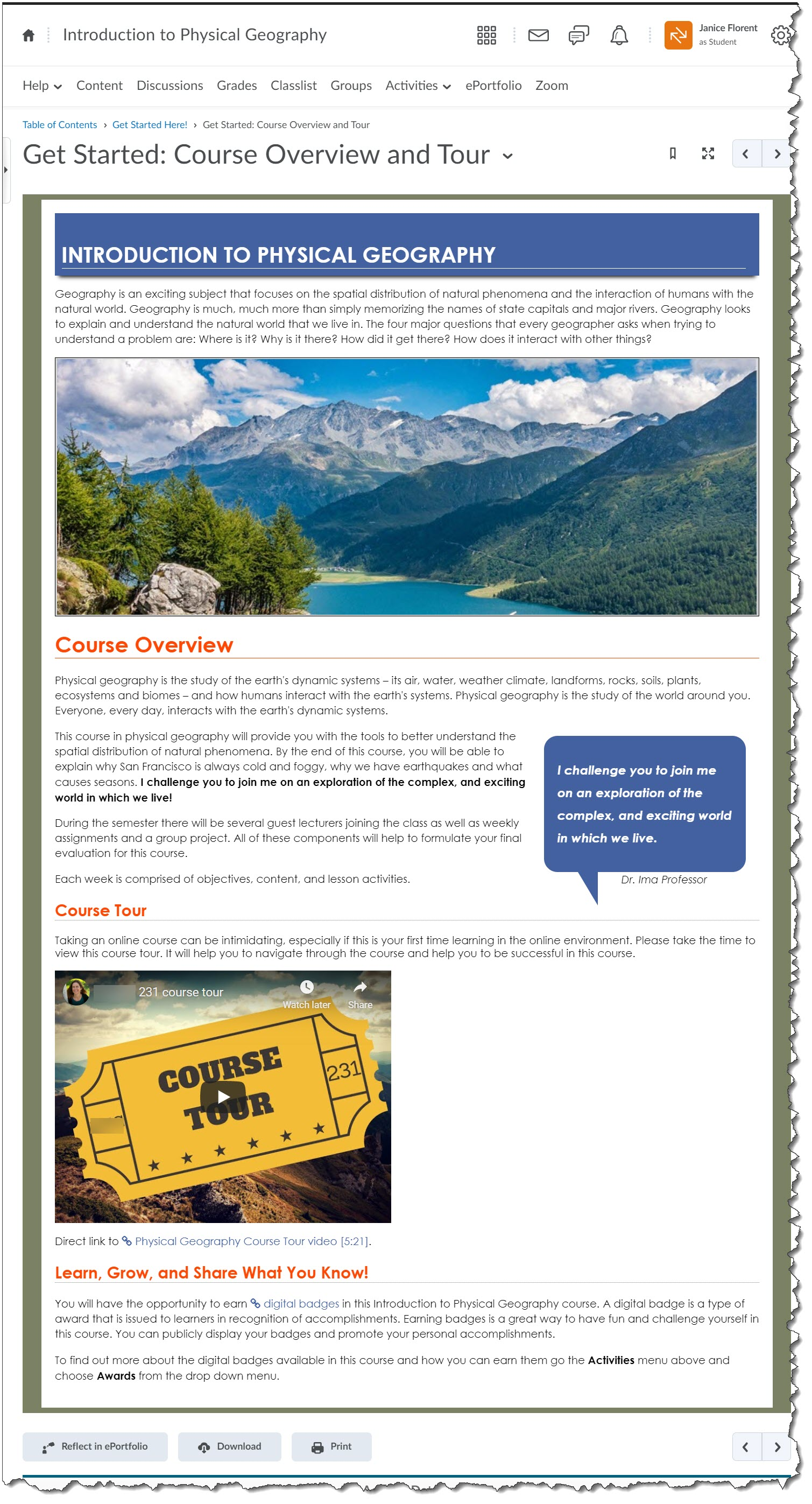 course overview page design after