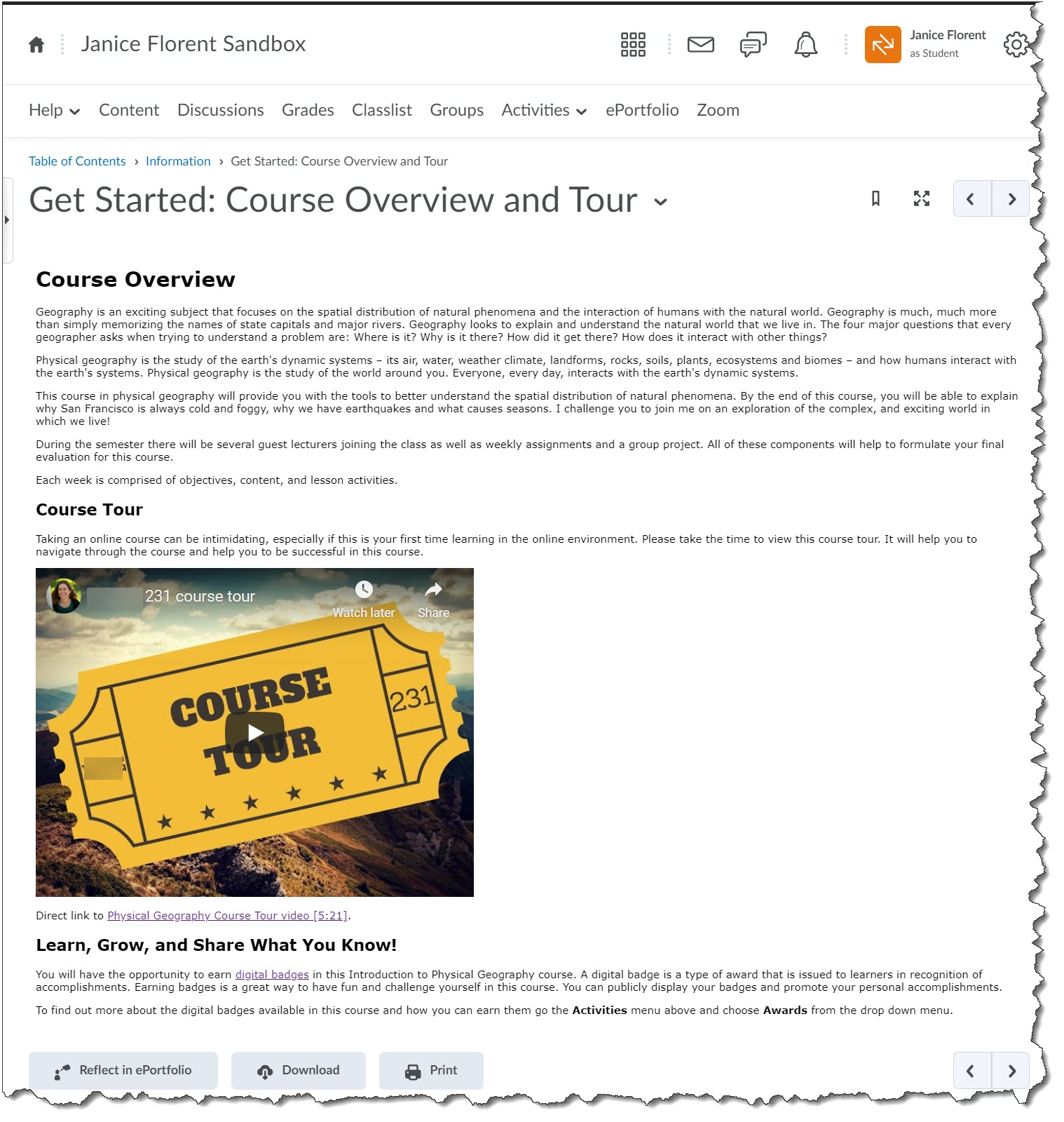course overview page design before