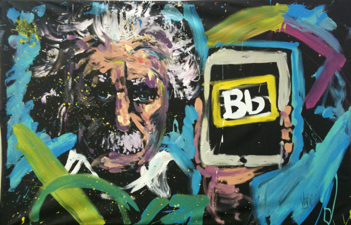painting of Albert Einstein holding Bb card