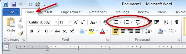 create list in MS Word